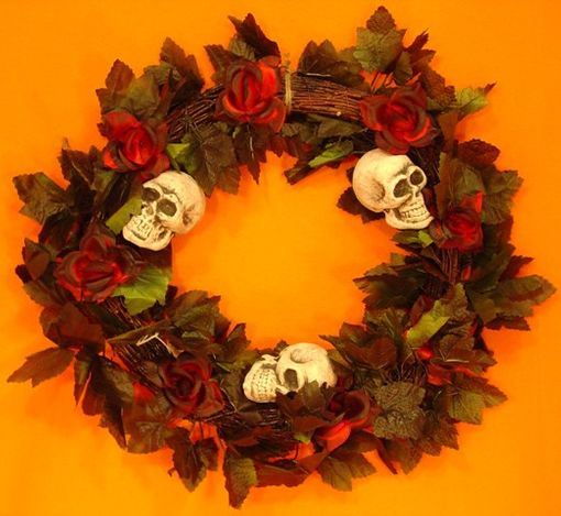 Wreath with Skulls and Red Roses 18""
