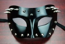 Black High Gloss Metal Spike Mask Bondage Cosplay Costume Mask