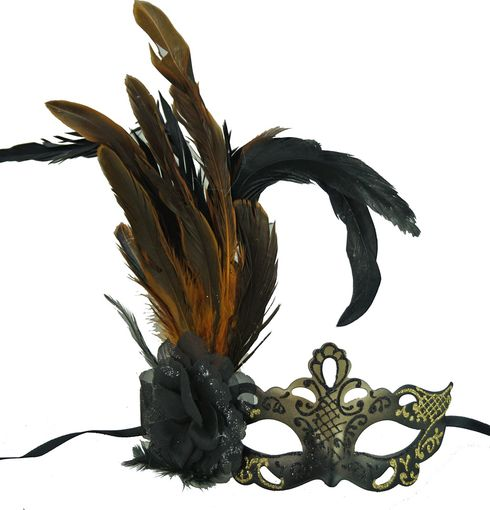 Gold Masquerade Mask With Feathers