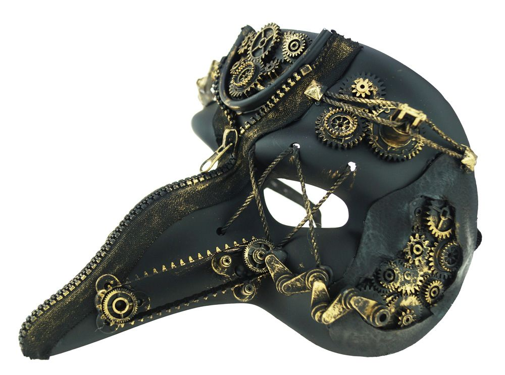 Men's Steampunk Mask With Gears Gold