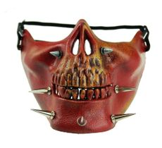 Zombie Half Mask Skull Halloween Face Mask Spike Half Face Costume Mask