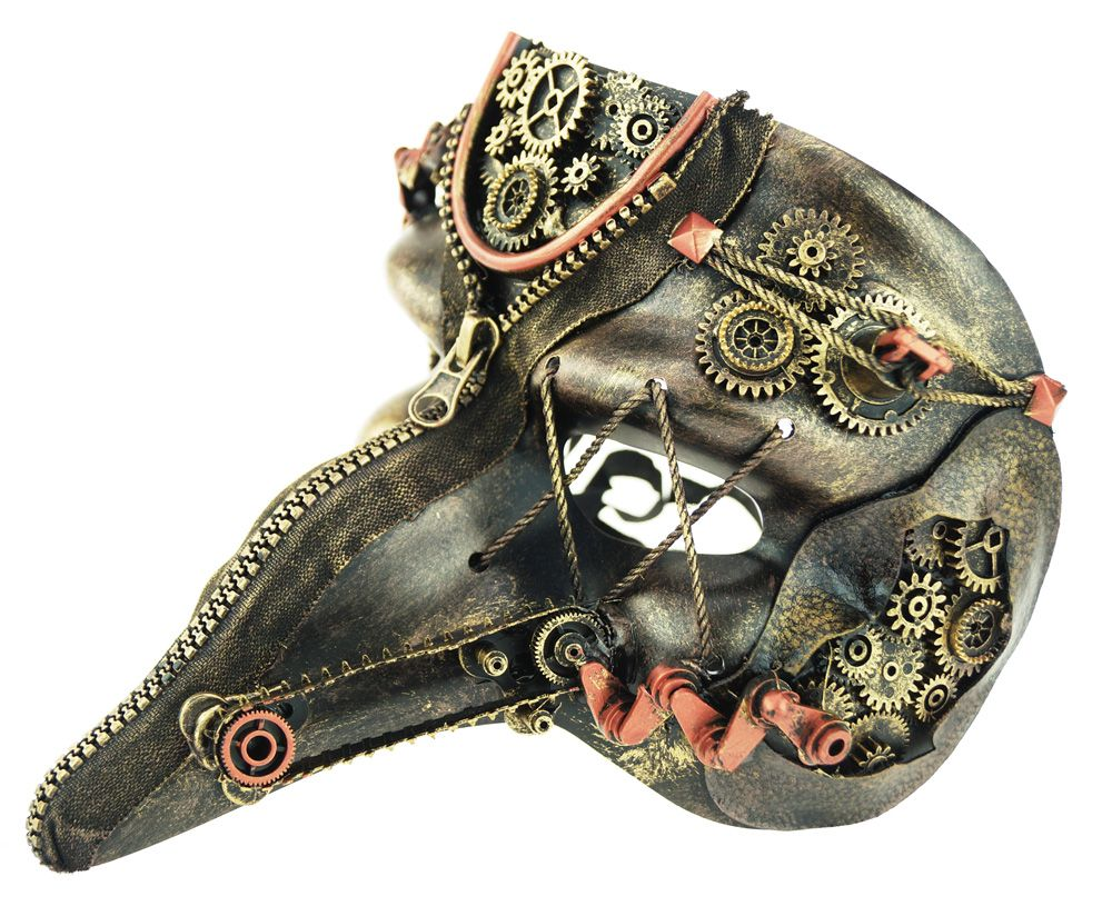 Men's Steampunk Style Mask With Gears Gold And Copper