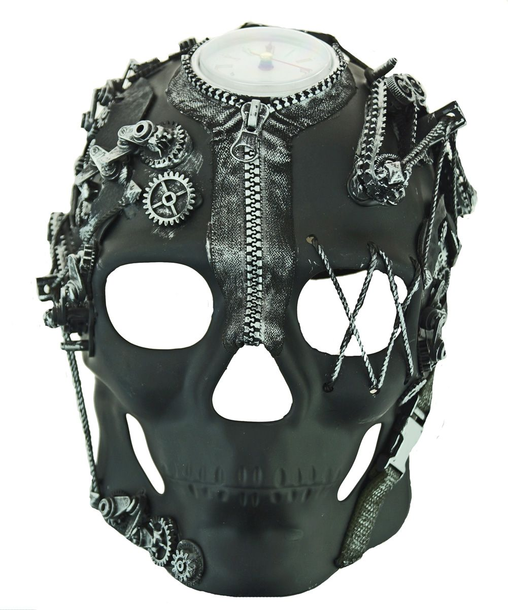 Men's Silver Steampunk Skull Mask With Clock And Gears