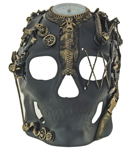 Men's Black Gold Steampunk Skull Mask With Clock And Gears