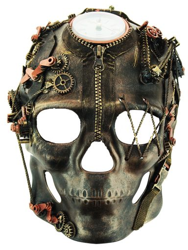 Men's Bronze Steampunk Cyborg Skull Mask With Clock And Gears