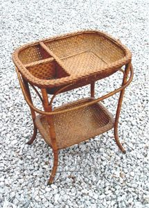 A Heywood antique wicker sewing stand