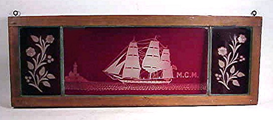 A rare engraved glass transom from Cape Cod.