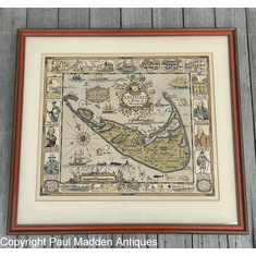 Antique 1926 Map of Nantucket by Tony Sarg