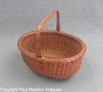 """Antique 7"""" Oval Nantucket Lightship Basket by Mitchy Ray"""