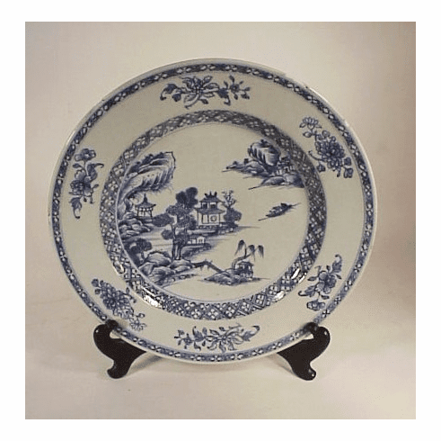 Antique blue and white Chinese Export plate