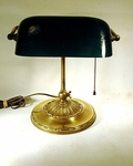 Antique brass green shaded BANKER'S LAMP
