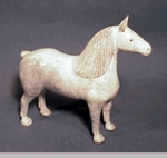 Antique carved wooden painted horse.