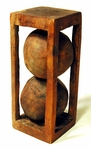 Antique carved wooden two ball whimsey
