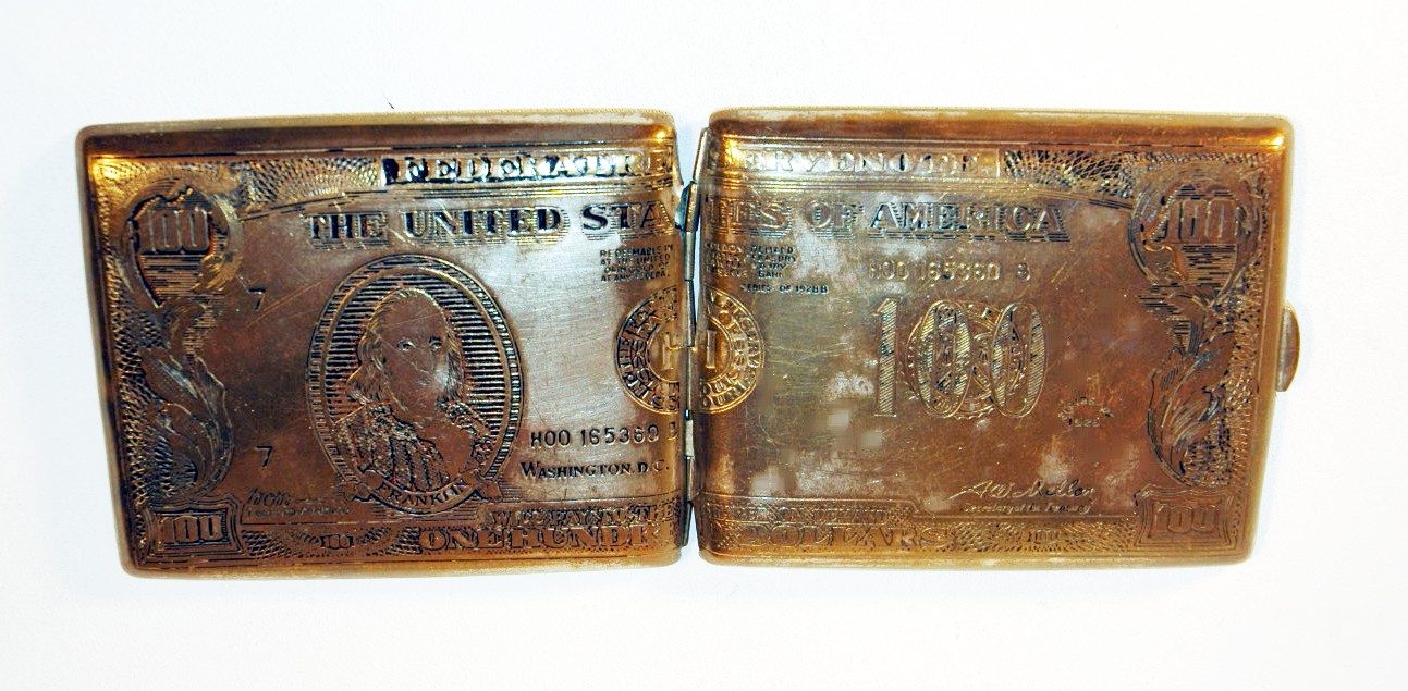Antique Cigarette Case 100 Dollar Bill