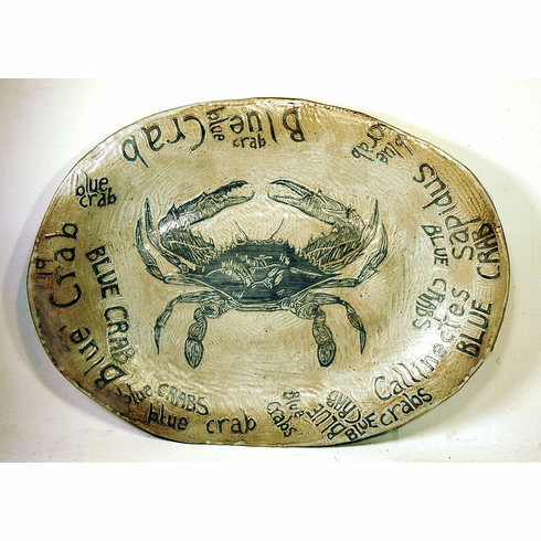 Antique folk art oval ceramic platter BLUE CRABS
