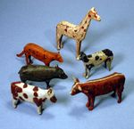 Antique group of six carved and painted Ark animals