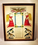 Antique hand colored BIRTH CERTICATE DATED 1853