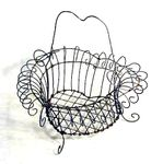 Antique heart shaped wire basket