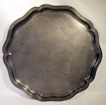 Antique large PEWTER tray with wavy border