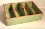 Antique light green painted cutlery box.