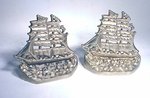 Antique nickel plated cast iron nautical book ends