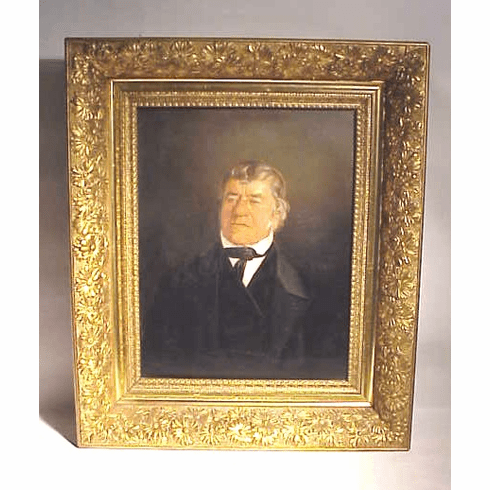 Antique oil on board of Abraham Rieser, Berks, Pa.