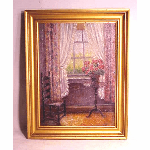 Antique oil on board of Cape Cod interior