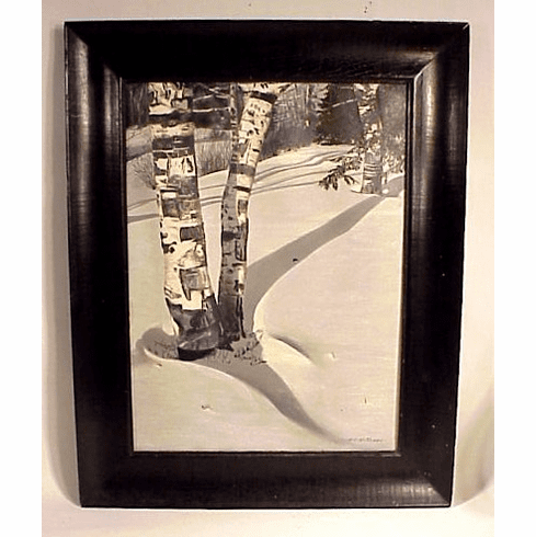 Antique oil on canvas of snow scene with birch trees