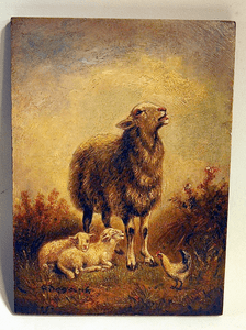 Antique oil on panel of SHEEP