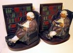 "Antique painted cast metal bookends ""FATHER KNICKERNOCKER"""