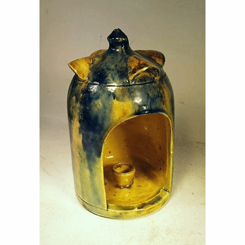 Antique pottery candle lamp  circa 1875.