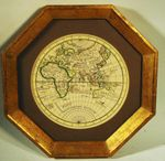 Antique round map of EARTH eastern hemisphere