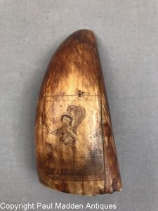 Antique Sperm Whale Tooth with Scrimshaw Madame Vestris