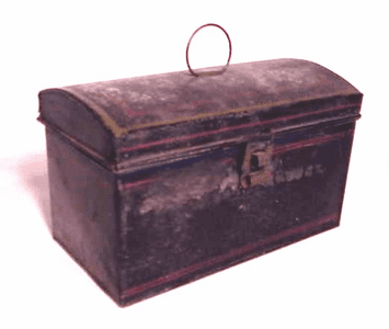 Antique tin box document from Nantucket