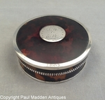 Antique Tortoise Shell & Silver Snuff Box from Hussey / Ewer Family of Nantucket