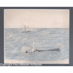 "Antique Whaler's Drawing ""Striking a Sperm Whale"" by Amos C. Baker Jr."