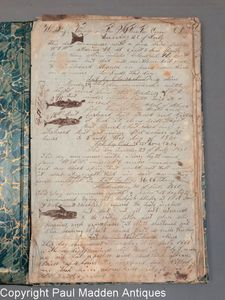 Antique Whaling Journal of Bark Sea Flower, New Bedford, MA 1851 - 1852