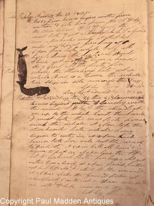 Antique Whaling Journal of Ship Shylock, Rochester, MA 1835 - 1837