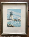 Brant Point Lighthouse Silkscreen Print by Nantucket Artist Roy Clifford Smith