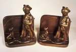 Charming pair antique  BOY & DOG bookends