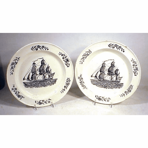 Choice pair antique creamware ship's plates.