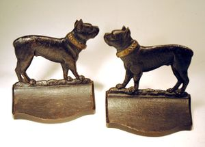 Choice pair of antique B&H cast iron bookends