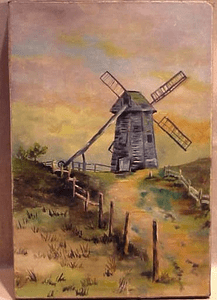 Folky oil on canvas painting of the Old Mill, Nantucket.