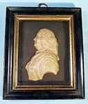 Framed WAX PORTRAIT of an 18th C. gentleman.