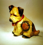Funky, cute  and fun chalk ware puppy dog  1939