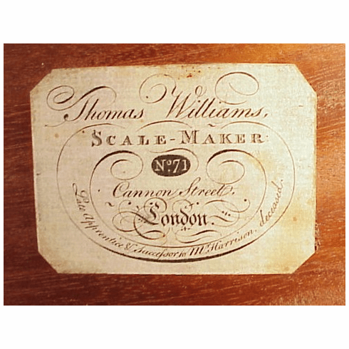 Late 18th C, weight scale box signed.