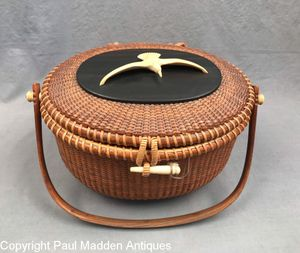 Vintage Nantucket Lightship Basket Purse by The Wooden Jug 1965