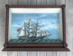 19th C. Shadowbox Ship HMS Queen Mab / Whaleship Coquette