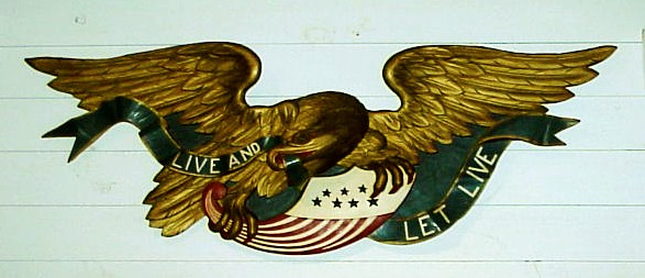 Old carved American Eagle in full polychrome