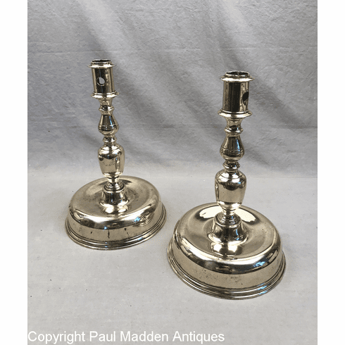 Pair 17th C. Dutch Bell Base Candlesticks